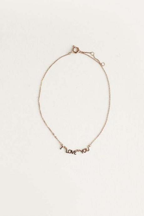 ' I LOVE YOU' Letter Bracelet / Anklet in Gold, Silver, Rose Gold