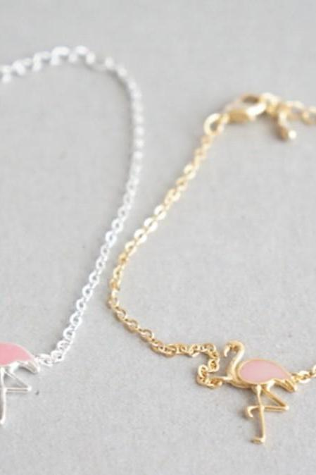 Flamingo Bird charm bracelet in 2 colors
