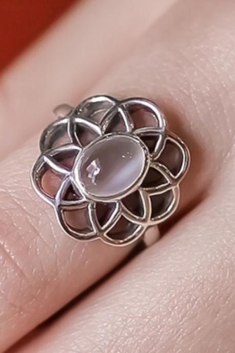 925 Sterling Silver Flower petal shape Moonstone Ring, Moonstone ring