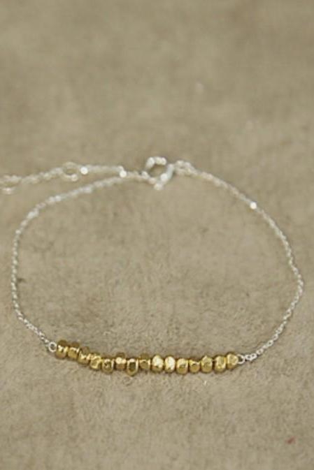 925 sterling silver Gold Nuggets Bar Bracelet