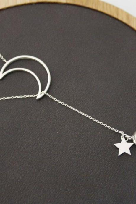 925 sterling silver Open Crescent moon and Twinkle Star and silver ball Lariat Necklace, Long Y Necklace
