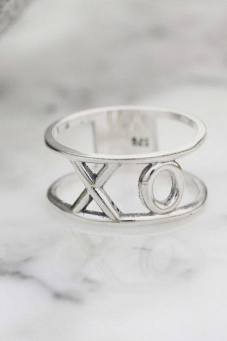 925 sterling XOXO Hugs and Kisses Wide Statement Rings