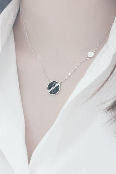 925 Sterling Silver Screw Head design Necklace, Cubic Screw Head Necklace