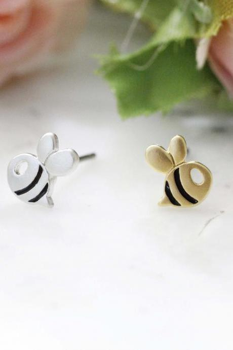 Cute Honeybee stud earrings, Bee earrings in 2 colors