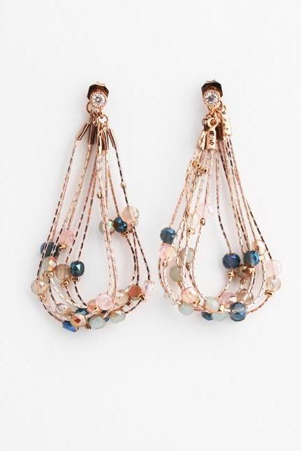 Front and Back Long chain Chandelier drop earrings-gemstones ear jacket, Statement earrings