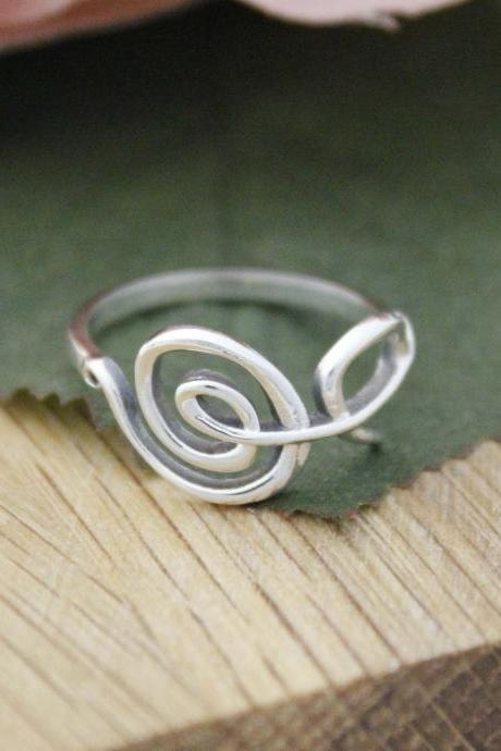 925 Sterling Silver Sideways Treble Clef Ring, Musical Note Ring, R1157S