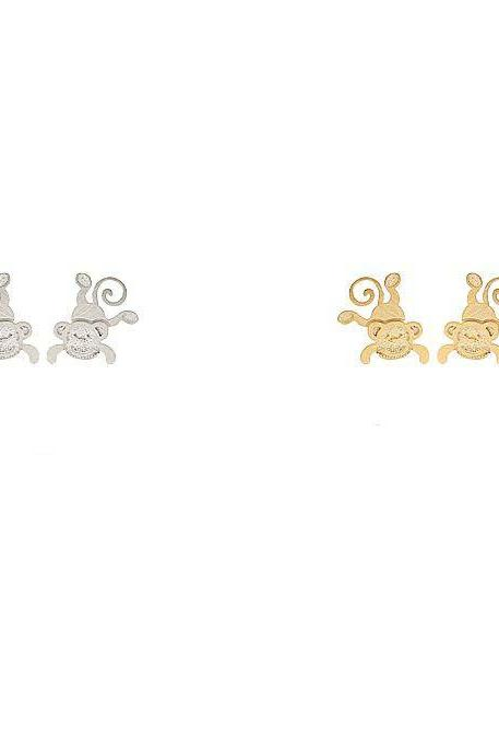 Cute Hanging Monkey stud earrings in 2 colors