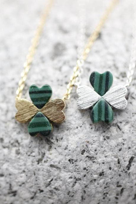 Four Leaf Clover Necklace with Malachite Gemstone