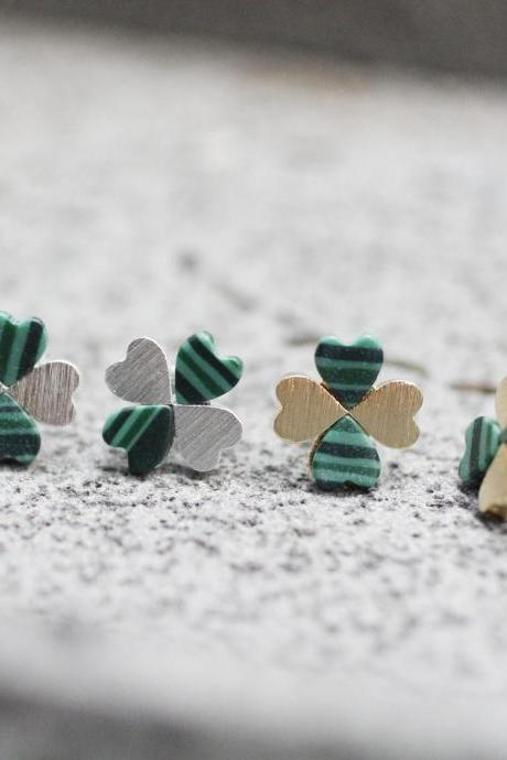 Four Leaf Clover Stud Earrings with Malachite Gemstone