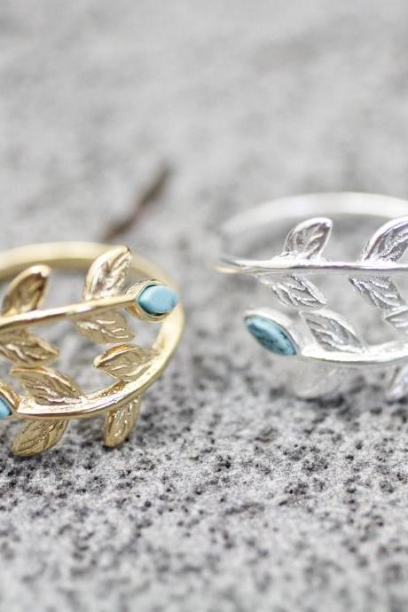 Bay Leaf Adjustable Ring detailed with Turquoise Gemstone, Gemstone leaf Ring