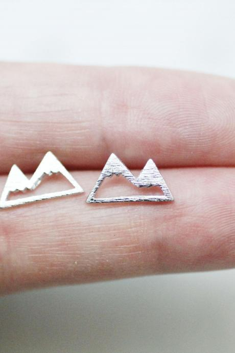 Cute Mountain Stud Earrings, Mountain Peak Earrings in 3 colors