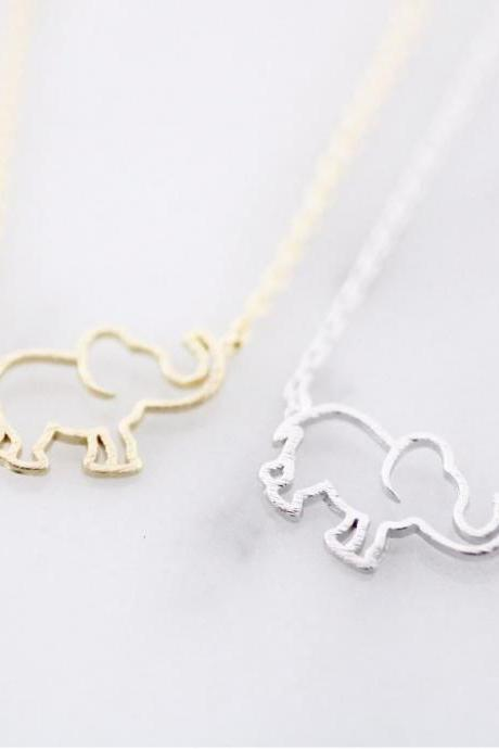Cut out Elephant pendant necklace in 3 colors