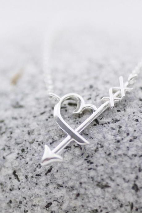 925 Sterling Silver Heart Sideways Arrow Necklace, Cupid's Arrow Charm, Heart Arrowhead Necklace,