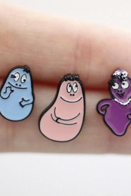 Cute Set of 3 Barbapapa stud earrings.earrings, Cartoon Barbapapa earrings