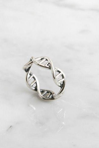 925 Sterling Silver DNA ring Chemistry Ring, Molecule Ring, Infinity Pattern Ring