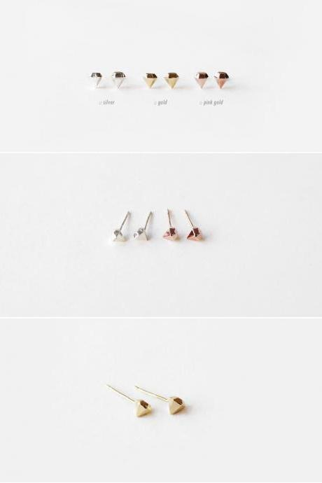 925 Sterling silver 3 dimensional Diamond Shape earrings - geometric jewelry,Tiny Diamond Shape earrings