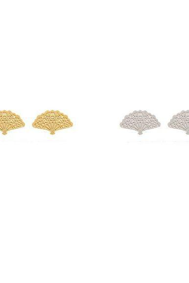 Hand Fan pendant Stud Earrings, Asian Fan earrings, Hand Held Fan earrings in Gold/Silver