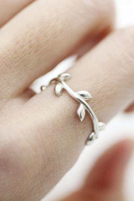 925 Sterling Silver Olive Leaf Branch ring , Bay Leaf Branch Ring