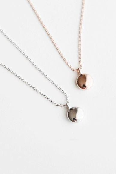 925 sterling silver Tiny Disc pendant Necklace, Circle Pendant Necklace in 3 colors