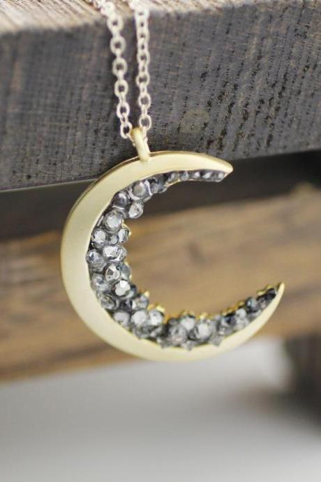 Crescent moon pendant Necklace detailed with Black Diamond Crystals, Long Crescent moon Necklace