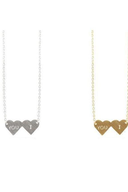 You and I Double Heart Necklace , Heart necklace, you and i necklace, friendship and love necklace