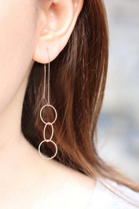 Triple Loop Ear Threader Dangling Earrings with 925 Sterling Silver