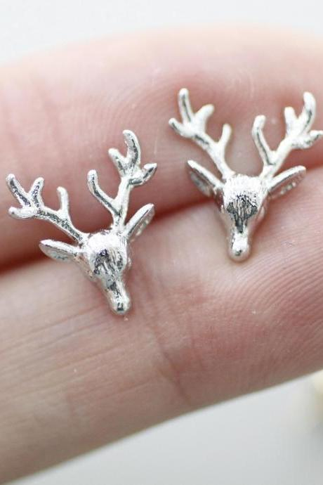 Reindeer Stud Earrings in Silver and Gold, Jewelry