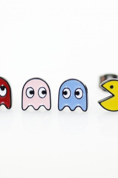 Set of 4 Vintage Game character Pac Man Stud earrings, Pac Man and Ghost Earrings