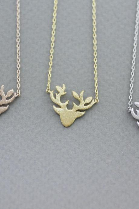 Antler, Elk Deer ,Deer head, Stag ,Reindeer Pendant Necklace in 3 colors