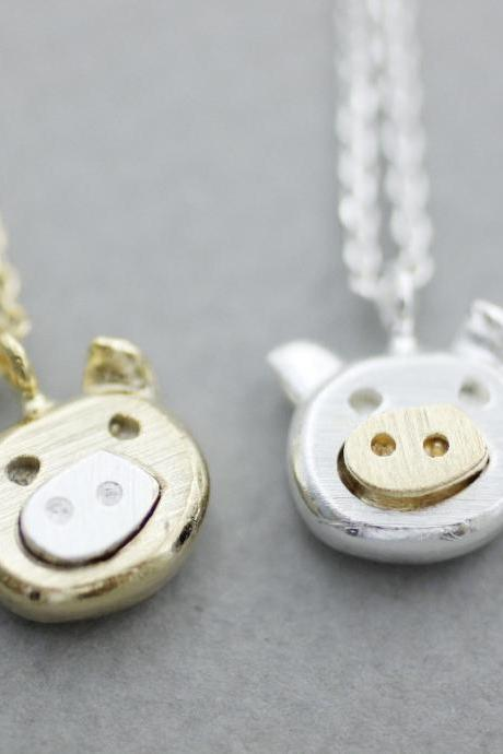 Cute Pig Pendant Necklace, Farm Animal Necklace in 2 colors