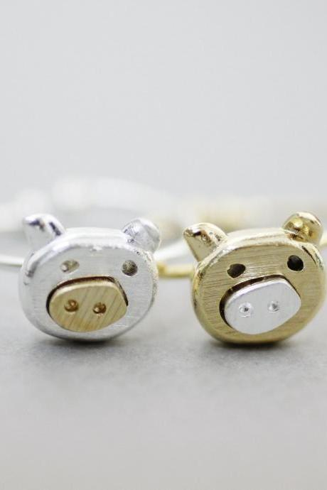 Cute Pig statement Ring, Farm Animal Ring in 2 colors