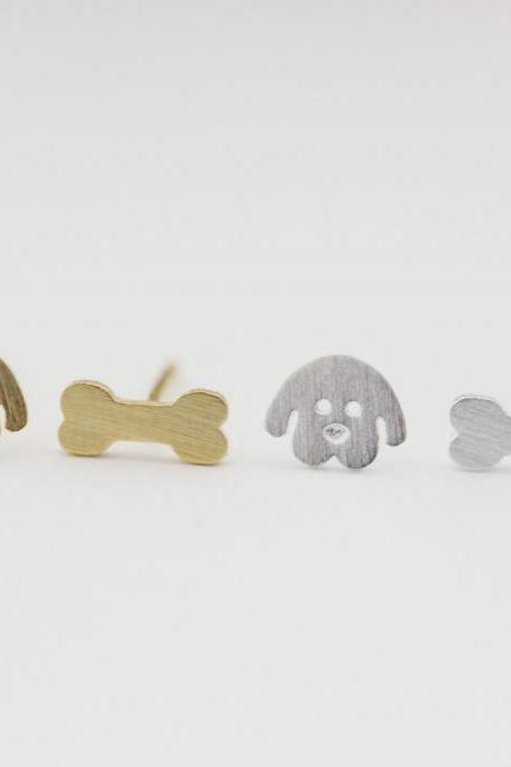 Puppy and Bone Stud Earrings in 2 colors
