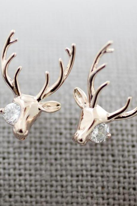 Antler, Elk Deer ,Deer head, Stag ,Reindeer with Cubic Stud earrings in 3 colors