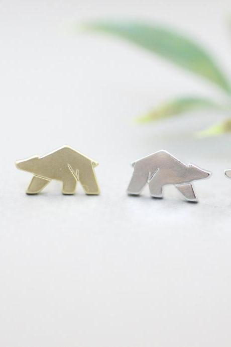 Cute Tiny Polar Bear earrings, White Bear earrings, Cute Bear earrings in 2 colors