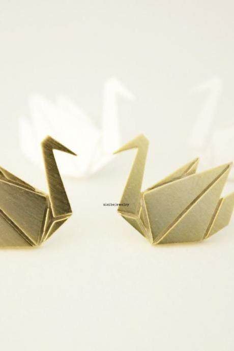 Origami Crane stud earrings in matte silver