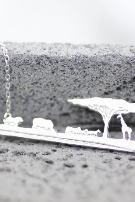 Africa Skyline Necklace, Safari Necklace, wild animal Necklace, Wilderness National Parks in 3 colors,