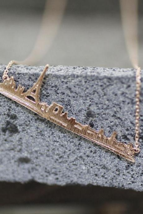 Cityscape Necklace, Paris Skyline Necklace - Paris Statement Necklace in 3 colors