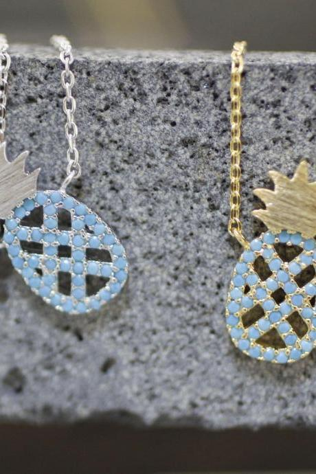 Cute Pineapple pendant detailed with blue Cubic necklaces in 3 colors, tropical fruit jewelry,