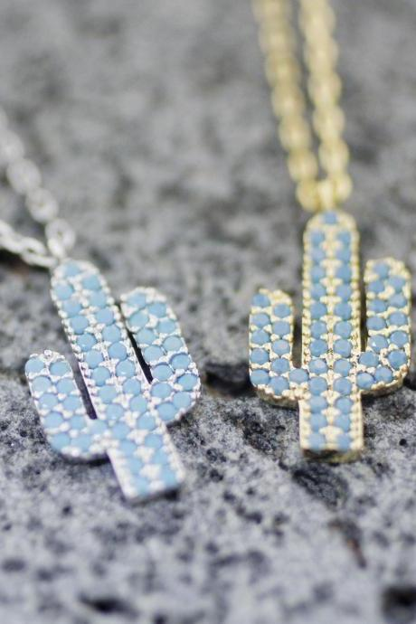 Cactus detailed with blue cubic zirconia Necklace, Cacti Tree Pendant necklaces, saguaro cactus necklace