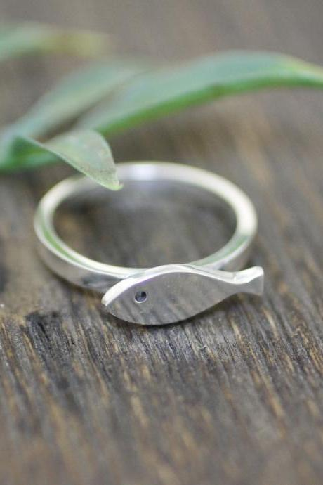 925 sterling silver Cute Fish Band Ring