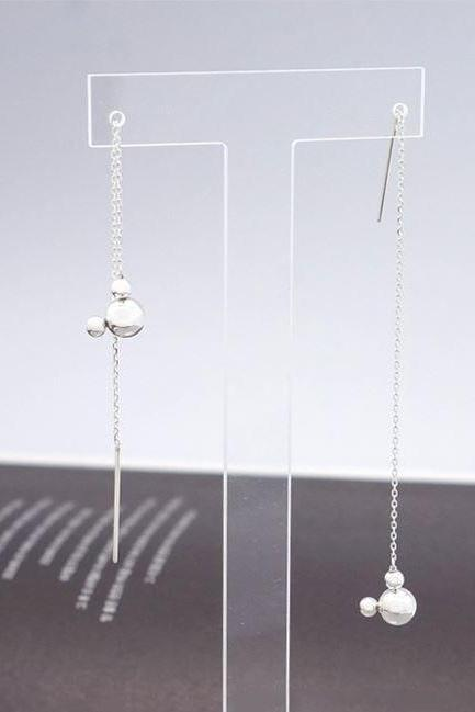 925 Sterling Silver Tiny Mickey Mouse Face Earrings, Long drop Ear Threader, Mickey Mouse Drops Pull Through Earrings, Long Chain earrings