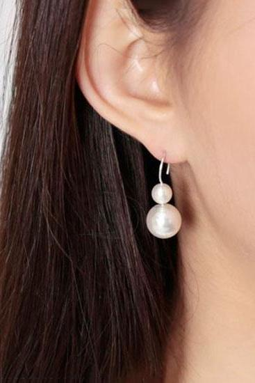 925 Sterling Silver Double Pearls dangle earrings, Pearl statement earrings