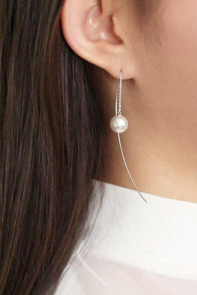 925 Sterling Silver Long Bar and pearl drop Ear Threader, Long Pearl Drops earrings Pull Through Earrings, Long Chain earrings