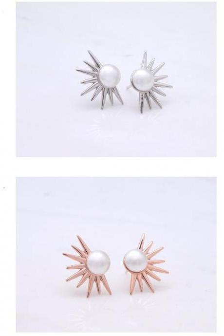 925 Sterling Silver Pearl and Spikes Stud Earrings,Starburst Earrings,Pearl Spike Punk Earrings
