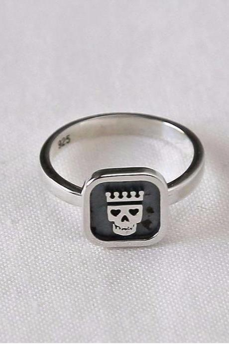 925 sterling silver Rase and Skull ring, R0191S