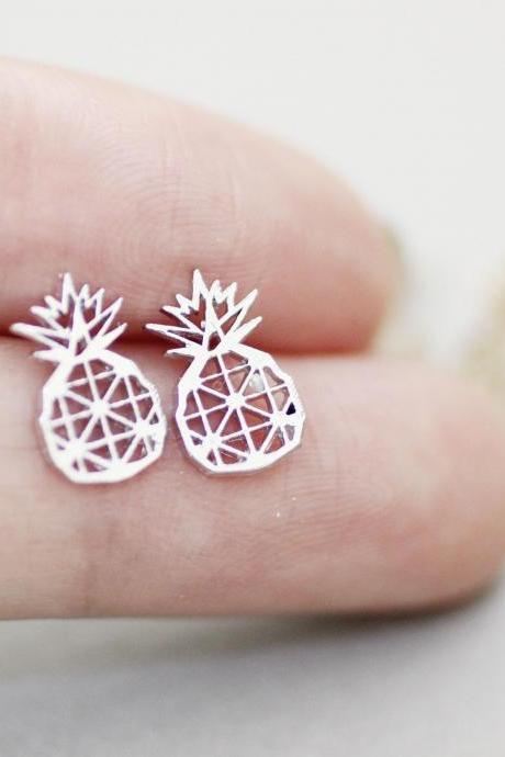 Pineapple Geometric Stud Earrings In Silver, Gold and Rose Gold, Jewelry
