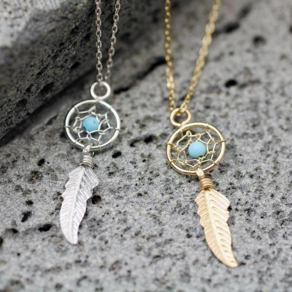 925 sterling silver Dreamcatcher Turquoise Necklace, Turquoise pointed Dream Catcher Boho with Feathers Necklace