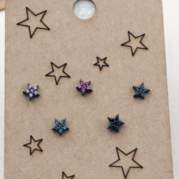 925 Sterling Silver tiny cubic stars earrings set, color stars mix and match earrings set, tiny star earrings, cubic star earrings