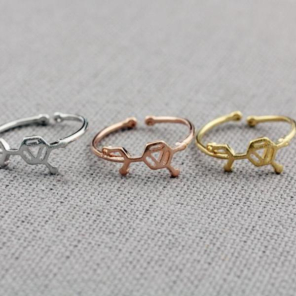 Adrenaline molecule stacking Ring, Adrenaline ring, Chemistry Compound Ring, chemistry jewelry in 3 colors