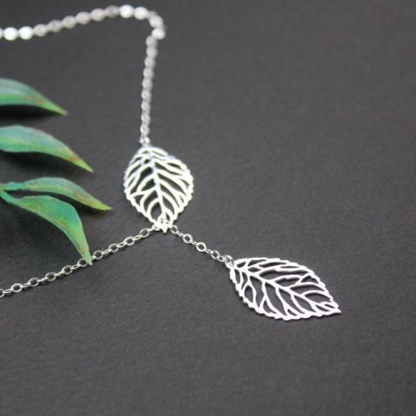 925 sterling silver Leaf charm Lariat Necklace, double leaves Y necklace, Silver Lariat Jewelry,Leaf Y Lariat, Filigree Leaf Pendant